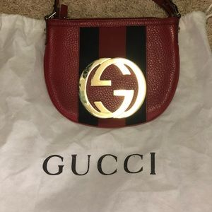 GUCCI Tom Ford Red Leather Web Stripe Blondie Bag